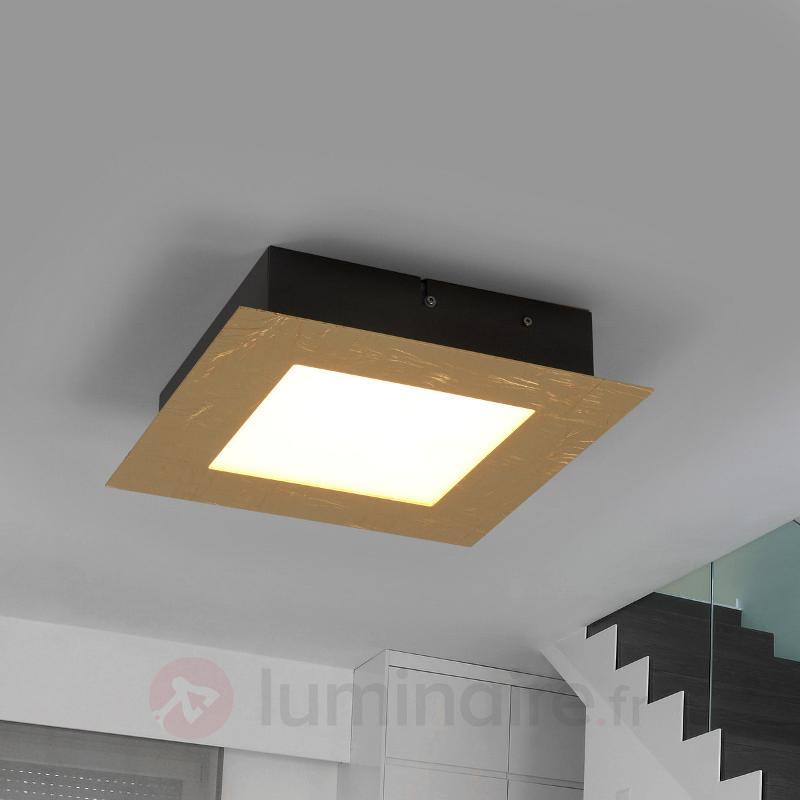 Plafonnier carré LED Deno, métal frappé or - Plafonniers LED