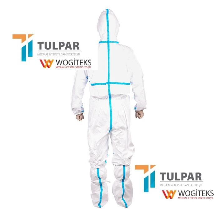 Disposable Coverall EN 14126 Type 3 Class 4 5 6  -  protective coverall EN14126 Protective Coverall with 60 gsm white colour ,