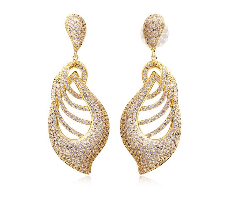 Fancy Gold and Diamond Earrings -