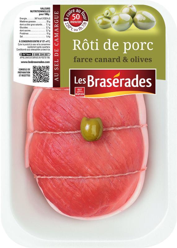 Rôti de porc farce canard & olives 600g - Viande et volailles