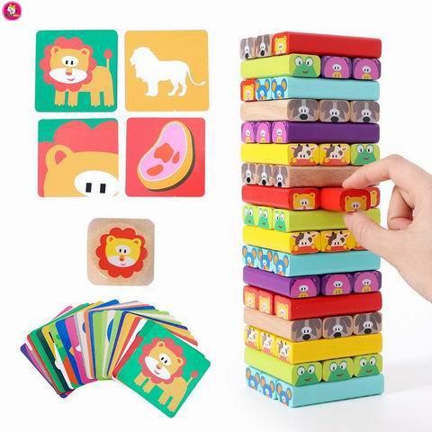 51 pcs Wooden Tumbling Blocks Stacking Tower Game  - Educational Toys
