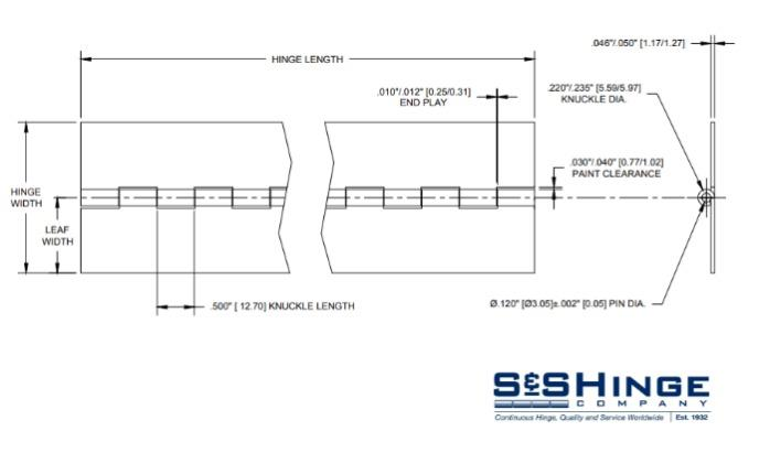 Hinges - 1100 Series - CAD files - 1104x96