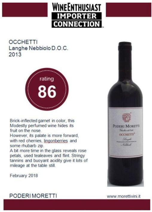 OCCHETTI LANGHE NEBBIOLO D.O.C. - Langhe Nebbiolo DOC 2013 Occhetti Wine Enthusiast Importer Connection 2018 86