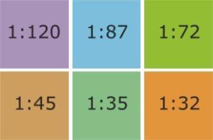 1:87, 1:45, 1:32, 1:35, 1:120