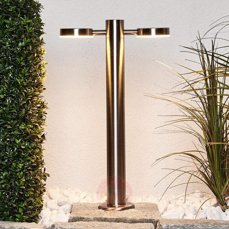 2-bulb LED stainless steel pillar lamp Toriba - Pillar Lights