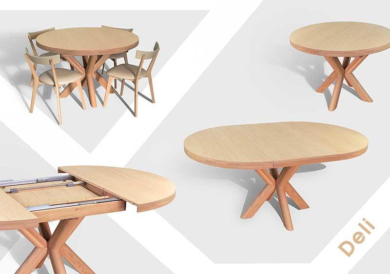 """Table """"Dehli"""" - Solid wood extandable table, oiled (different colors)"""