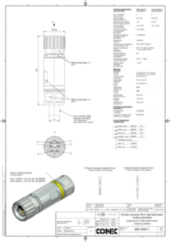 B12 CONEC SuperCon Hybrid Connectors field attachable - CONEC SuperCon® Hybrid connectors field attachable, B12