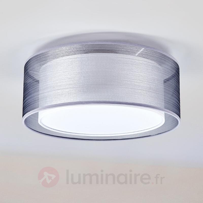 Plafonnier Nica en tissu gris - Plafonniers en tissu