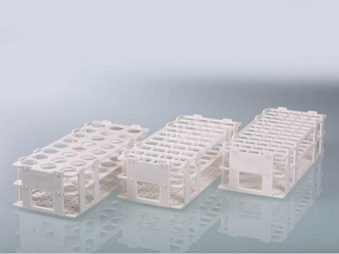 Support à éprouvettes - PP, blanc, stérilisable, 24 positions de stockage, équipement de laboratoire