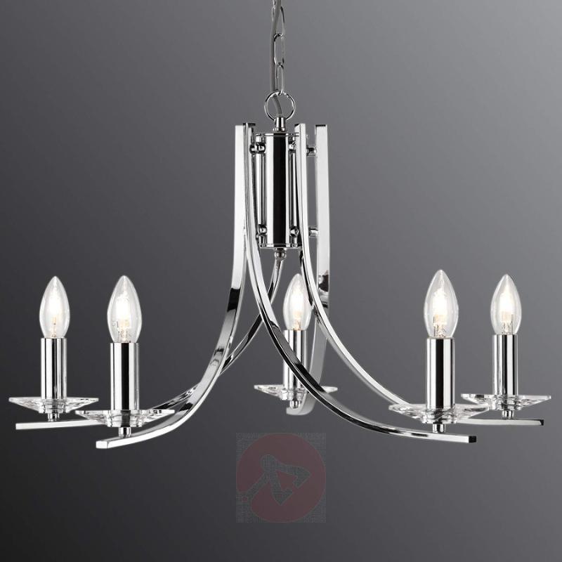 Elegant 5-bulb Ascona chrome hanging light - indoor-lighting