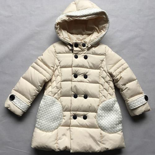 девочки кремового цвета с длинными рукавами вниз пальто