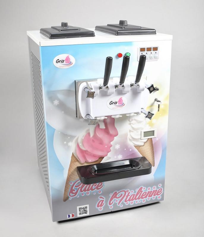 Machine à glace italienne de comptoir 2 parfums + 1 mélange -