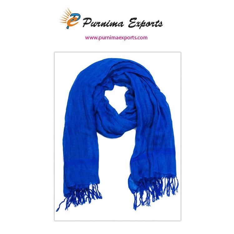 foulard en lin à franges bleu -