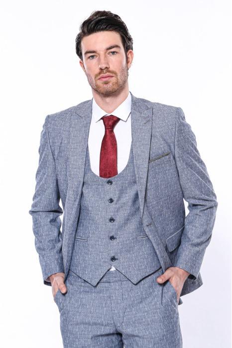 Linen Touch Blue Vested Suit - 3 pcs Linen Touch Blue Vested Suit