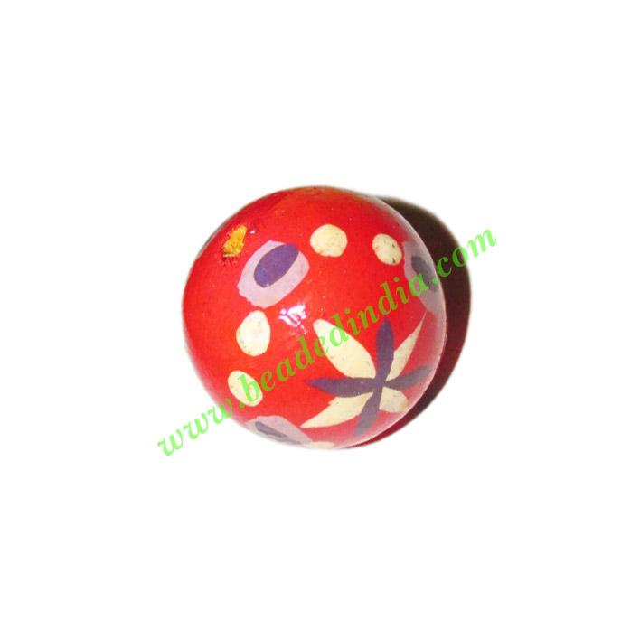 Wooden Painted Beads, Fancy Design Hand-painted beads, size  - Wooden Painted Beads, Fancy Design Hand-painted beads, size 20mm, weight approx
