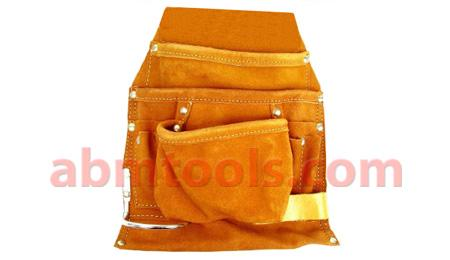 9 Pocket Split Leather Professional Style Nail & Tool Bag - Wide belt tunnel slot