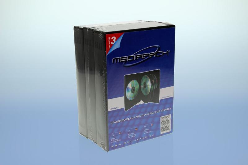 DVD Box 10-fach mit Tray - 35mm - 3er Pack - schwarz - Retailverpackungen & Zubehör