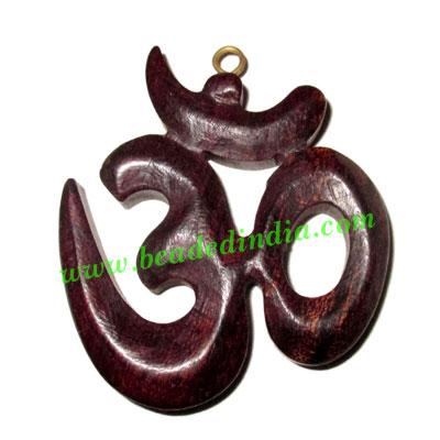 Handmade wooden om pendants, size : 45x40x6mm - Handmade wooden om pendants, size : 45x40x6mm