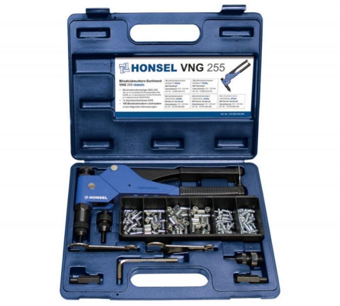 Hand Rivet Tool VNG 255 for blind rivet nuts and -bolts - Hand rivet tool with assortment of blind rivet nuts and blind rivet bolts