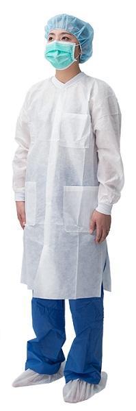 Abrigo de botón a presión - Material: SMS / PP no tejido Spec: con cuello de punto y puño y botón a presión