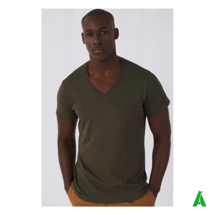 T-shirt 100% cotone organico di qualita' scollo a V per uomo - T-shirt di alta qualita' per uomo, scollo a V, cotone organico, elegante.