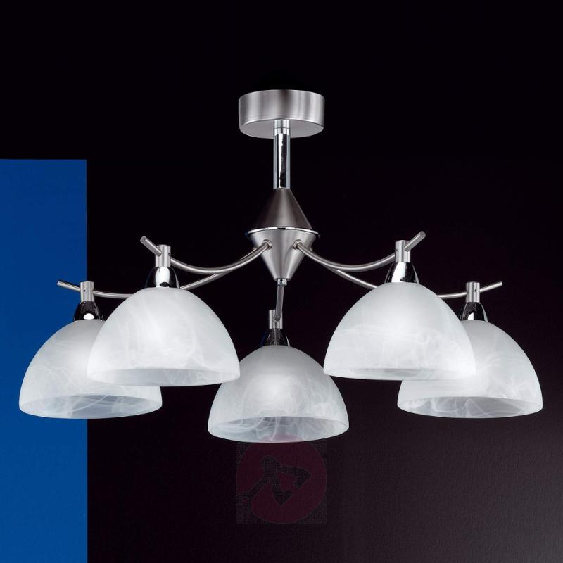 Amsterdam five-bulb ceiling light, matt nickel - indoor-lighting