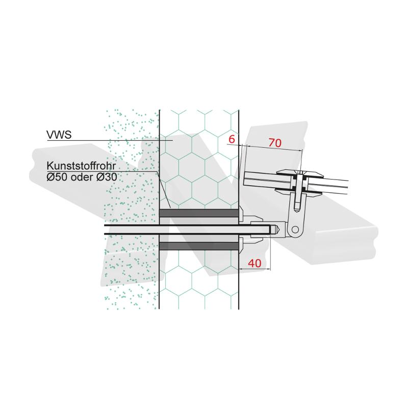Canopy Set E (Ø 60 mm), Tension rod: 1130 mm - Suspended canopies