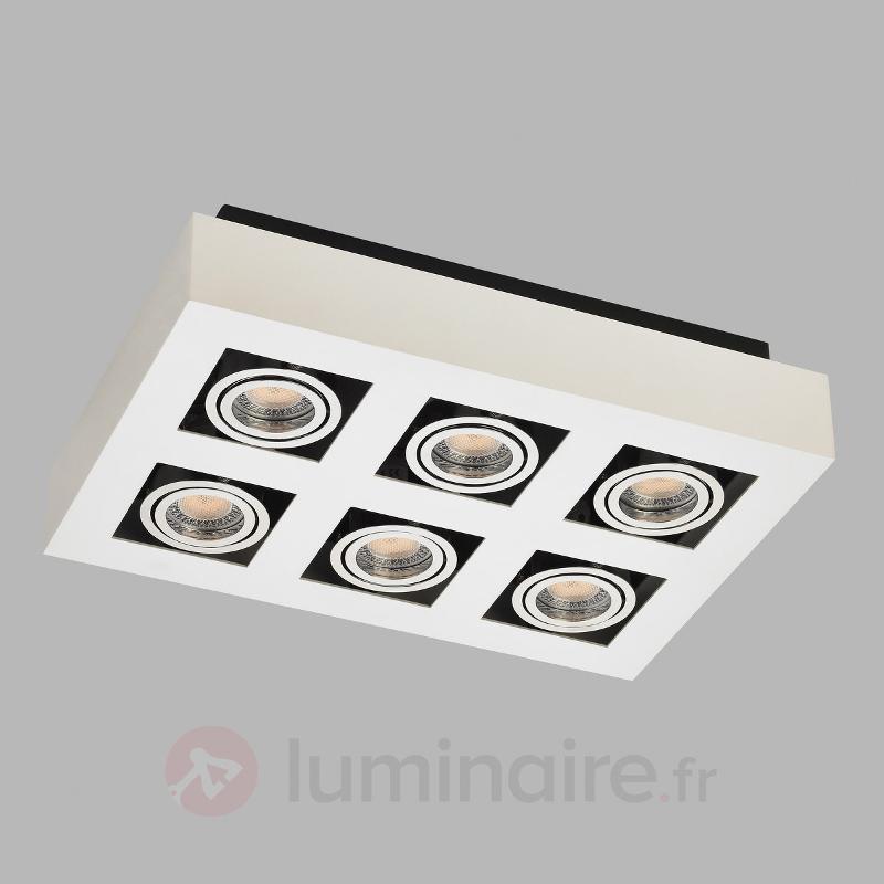 Spot LED carré Vince à six lampes, blanc - Plafonniers LED