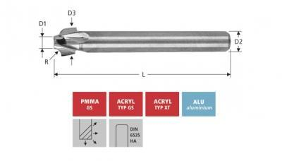 Milling Tools: for PMMA- and PC-plastics - solid carbide external radius end mill, with triple flute