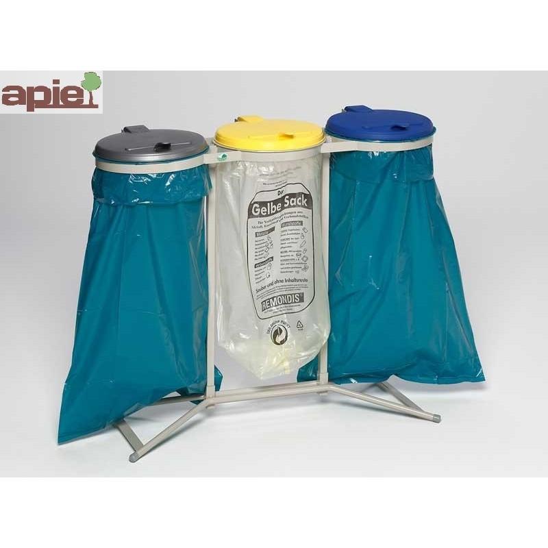 Support sac poubelle triple avec couvercles plastiques - Référence : 1650