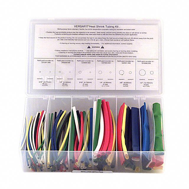 """KIT HEATSHRINK 6"""" 133 PCS COLOR - TE Connectivity Raychem Cable Protection VERSAFIT-KIT-2-COLOR"""