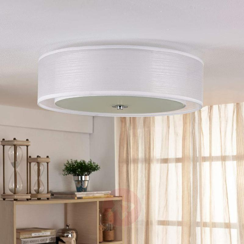 Tobia - Easydim LED ceiling light, white fabric - Ceiling Lights