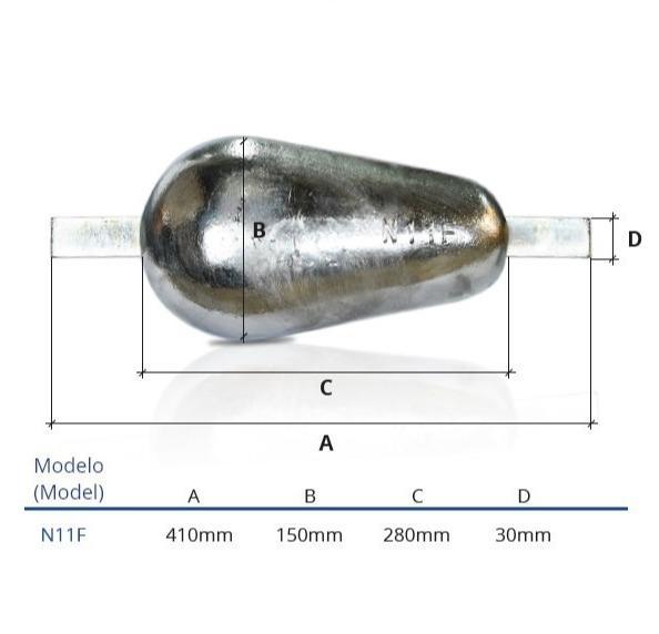 Ânodo de zinco para protecção catódica - Ânodos de casco N11F