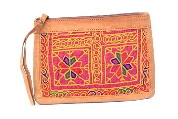 Vintage Hand Embroidery Leather Evening Clutch -