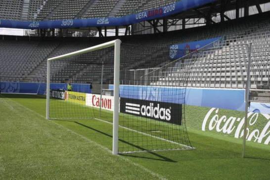 Stadion Fussballtor - silber, eckverschweißt, nach FIFA-DFB-Vorschrift und DIN-EN 748, GS-GEPRÜFT