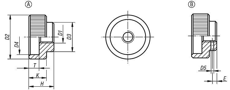 Dadi zigrinati in acciaio e acciaio inox DIN 6303 - K0137