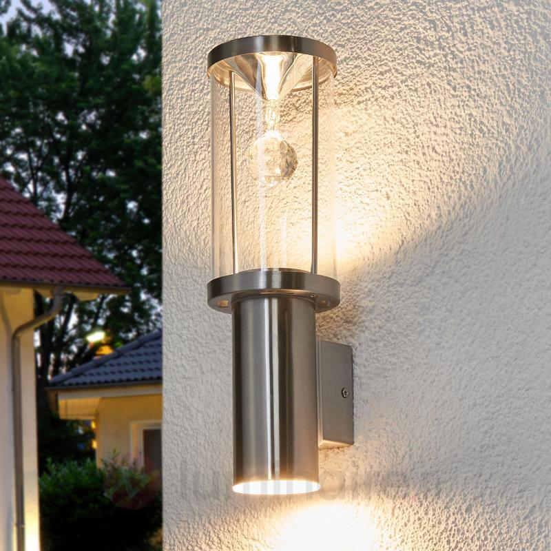 Applique ext. LED Trono avec cristal de verre - Appliques d'extérieur inox