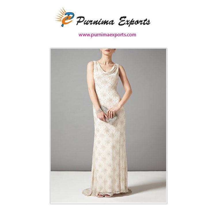 Cowl Neck Evening Beaded Dresses | Hand Embellished