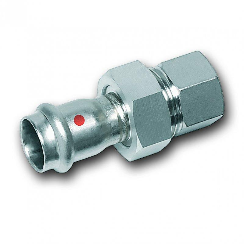Union, with flat seal, stainless steel - Stainless steel press fitting system NiroTherm®, AISI 304, EPDM