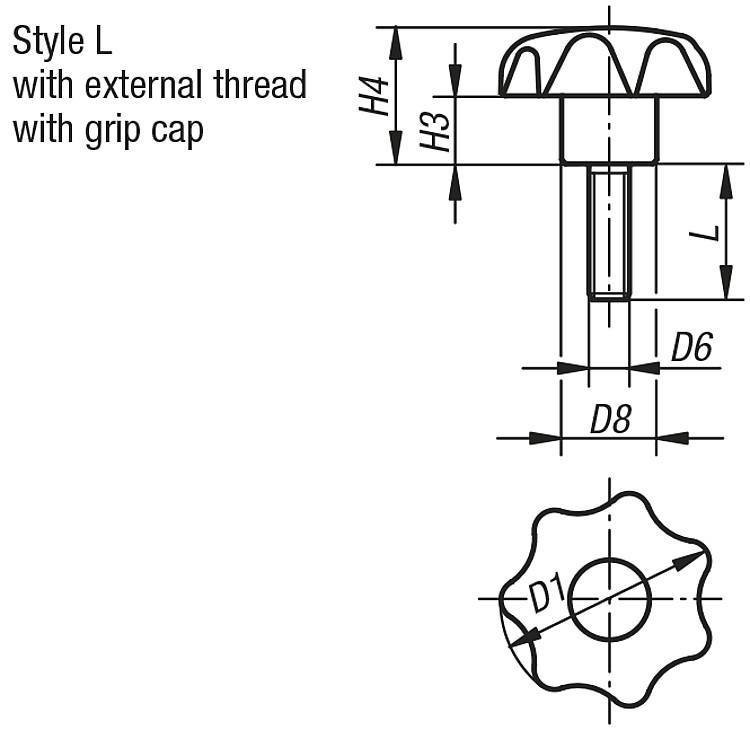 Star Grips similar to DIN 6336, Style L, metric - K0155_L Metric