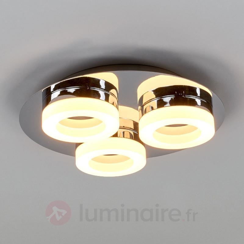 Plafonnier LED rond Castil avec 3 anneaux, IP44 - Salle de bains