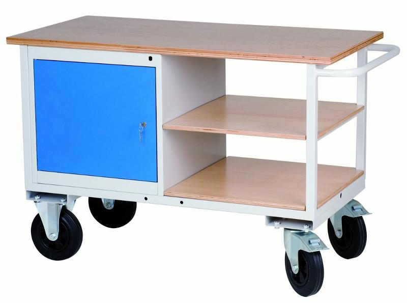 Mobile workbench with shelves and cabinet with hinged door - 04.12.80A