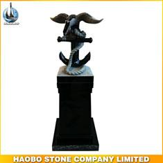 China Black Granite Eagle Stone Sculpture Popular Sale
