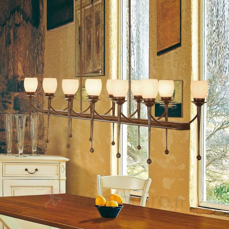 Impressionnante suspension CHATEAU à 12 lampes - Suspensions rustiques