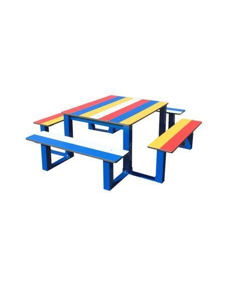 Table Pique Nique Enfants Arc En Ciel En Compact - Tables De Pique-Nique