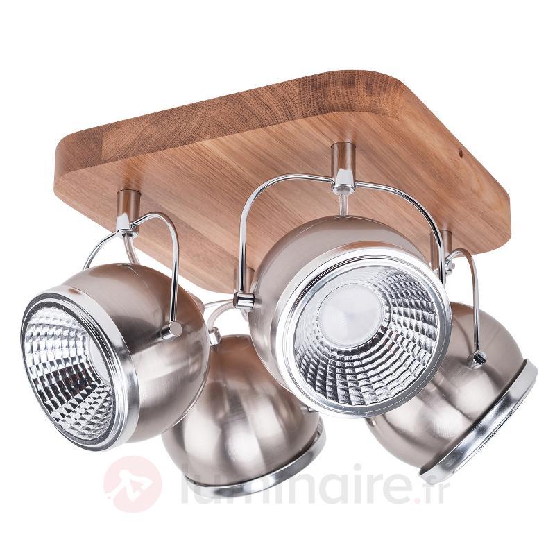 Ball Wood - plafonnier chêne huilé 4 lampes - Spots et projecteurs LED