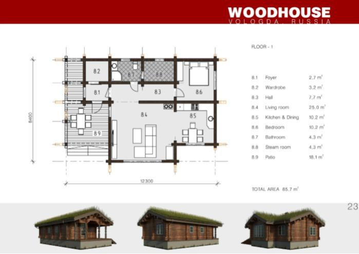 Prefabricated wooden house SOGNDAL - Houses produced using Norwegian log processing technology