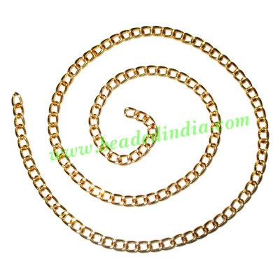 Gold Plated Metal Chain, size: 1x4mm, approx 36.3 meters in  - Gold Plated Metal Chain, size: 1x4mm, approx 36.3 meters in a Kg.