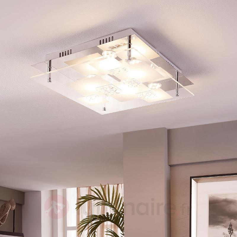Valeria - plafonnier carré LED en verre - Plafonniers LED