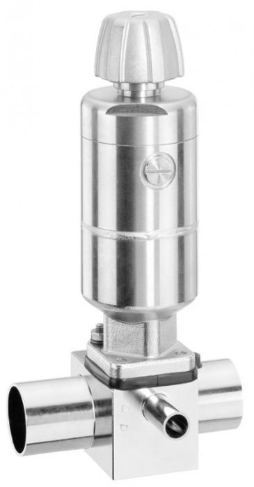 Membranventil aus Edelstahl GEMÜ 650TL - Ein manuelles  Membranventil mit integriertem pneumatischem Antrieb.